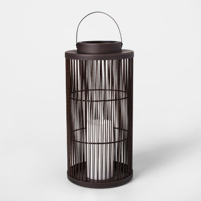 "15"" Vertical Weave Battery Operated Outdoor Woven Lantern with LED Candle - Threshold™"