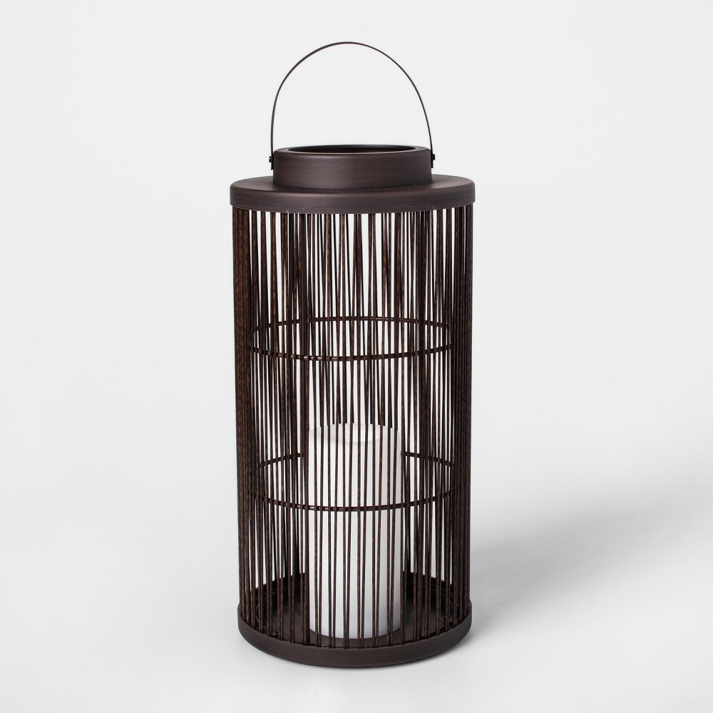 "Image of ""15"""" Vertical Weave Battery Operated Outdoor Woven Lantern with LED Candle - Threshold"""