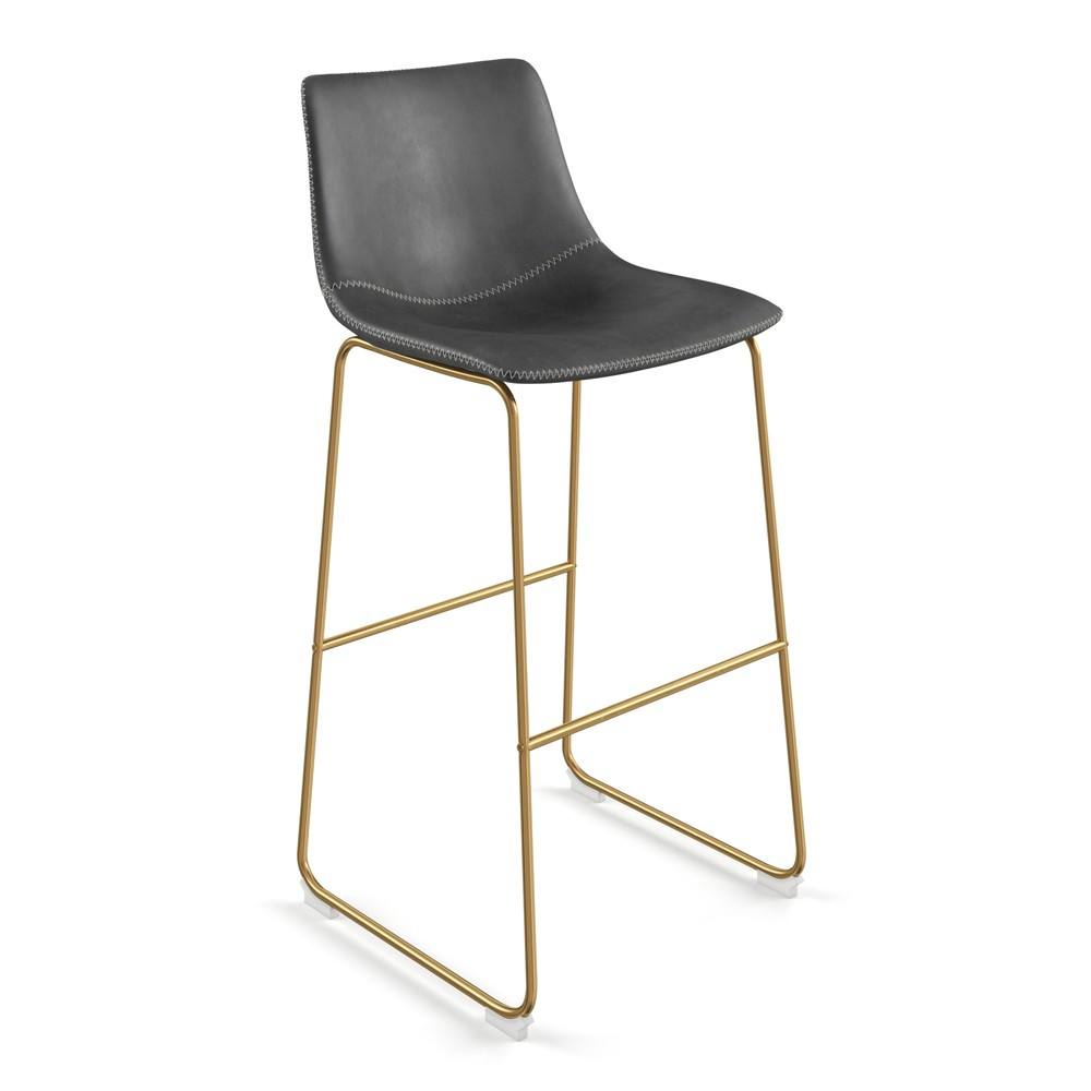 Super Petra Upholstered Barstool Set Of 2 Gray With Gold Legs Aeon Dailytribune Chair Design For Home Dailytribuneorg