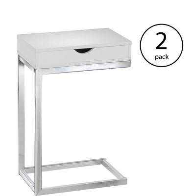 Monarch Specialties Contemporary Accent Side End Table w/ Drawer, White (2 Pack)