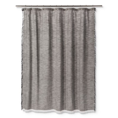 Woven Fringe Shower Curtain Gray - Threshold™