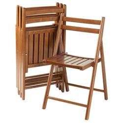 Robin 4pc Folding Chair Set Teak Brown - Winsome