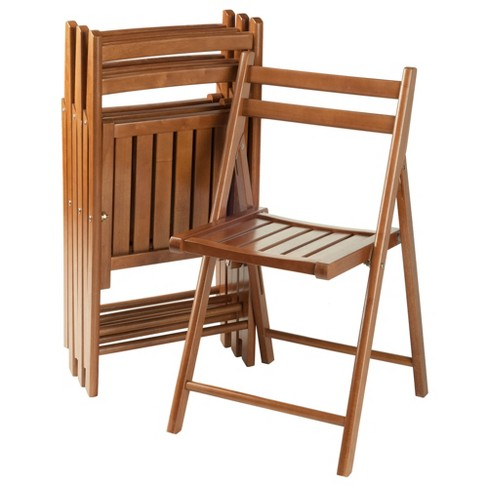 Robin 4pc Folding Chair Set Teak Brown - Winsome - image 1 of 4