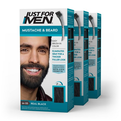 Just For Men Mustache & Beard Beard Coloring for Gray Hair with Brush Included - 3pk - image 1 of 4
