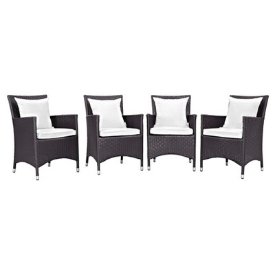 Convene 4pc All-Weather Wicker Patio Dining Chairs - Espresso/White - Modway