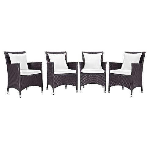 Convene 4pc All Weather Wicker Patio Dining Chairs Espresso White Modway