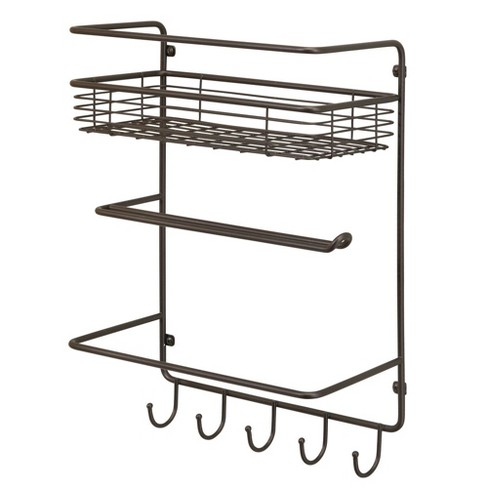 White Metal Paper Towel Holder with Storage Basket mDesign Kitchen Roll Holder Wall-Mounted Roll Holder and Kitchen Storage Shelf