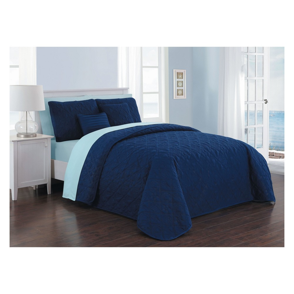 Image of 9pc Queen Del Ray Quilt Set Navy/Light Blue - Avondale Manor