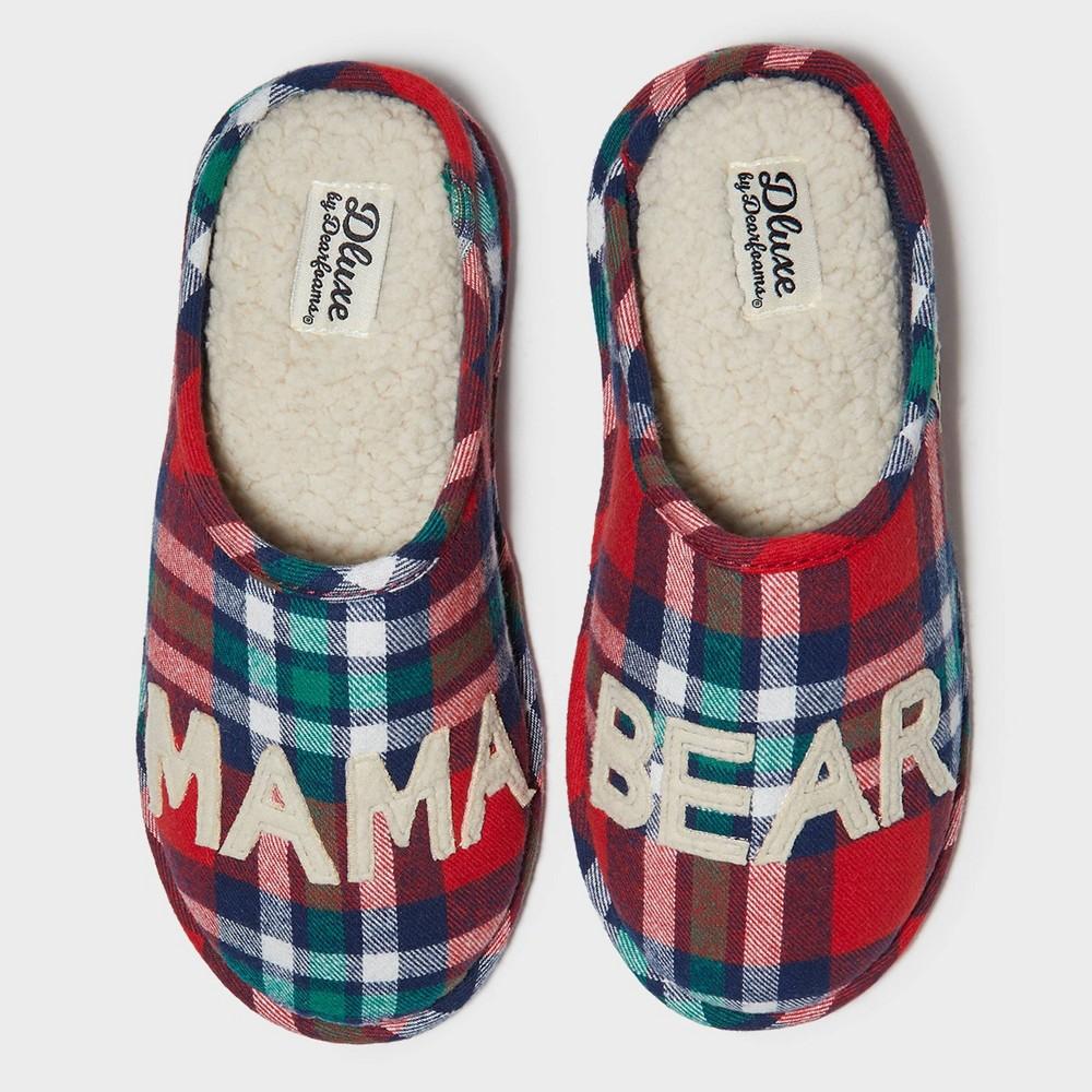 Image of Women's dluxe by dearfoams Mama Bear Slide Slippers - Red XL(11), Size: XL (11-12), Red Green Blue