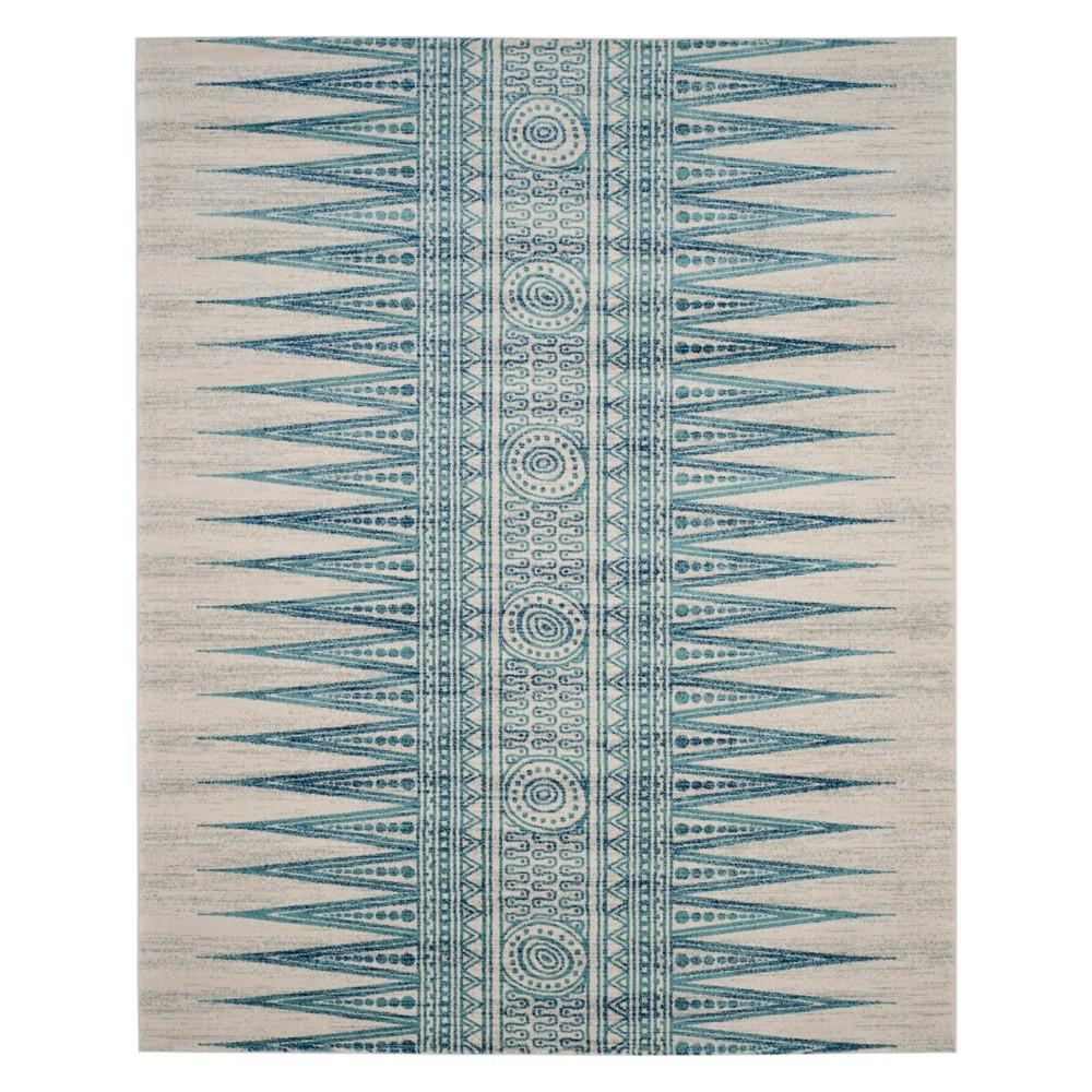 8'X10' Tribal Design Loomed Area Rug Ivory/Turquoise - Safavieh