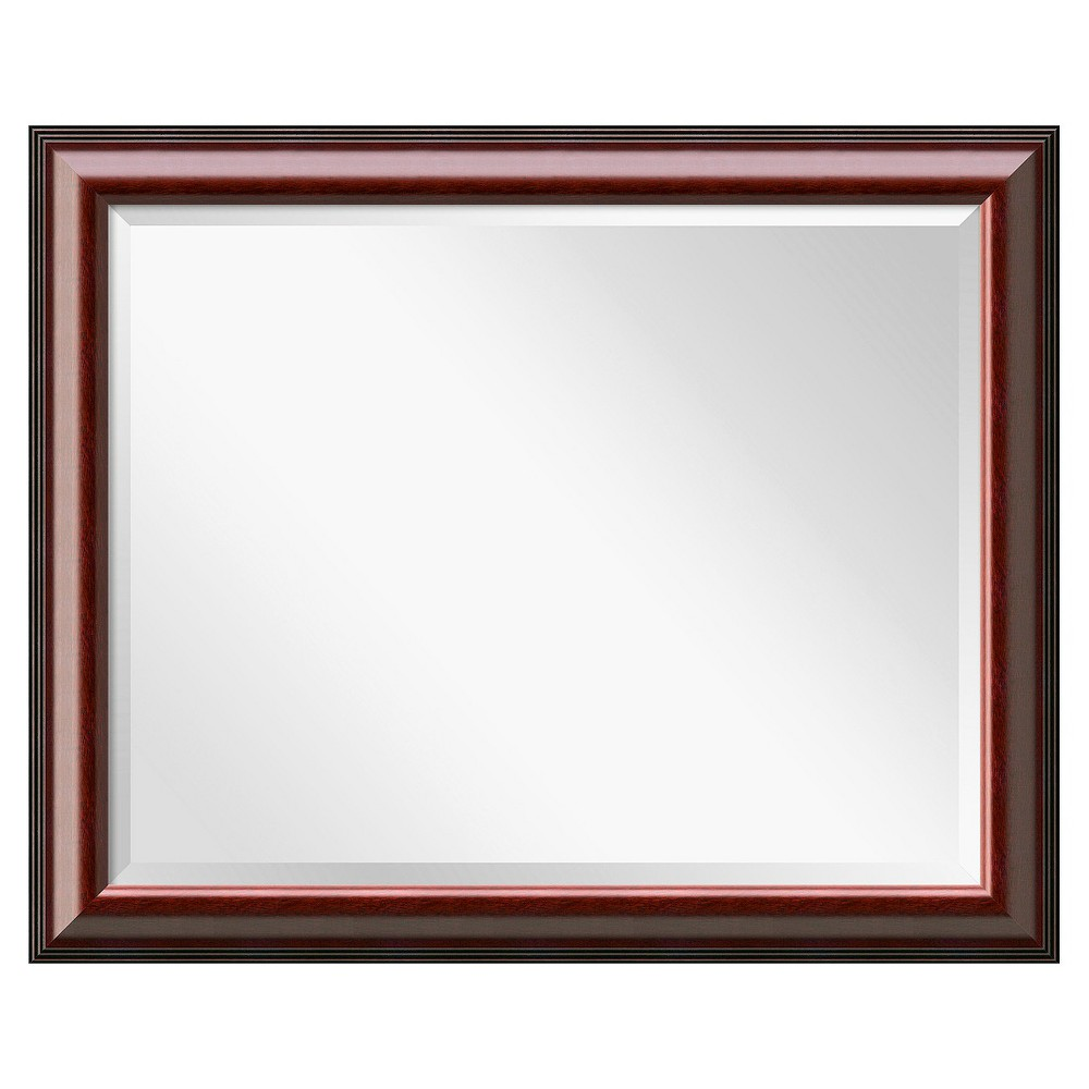 Image of Rectangle Cambridge Decorative Wall Mirror Mahogany - Amanti Art, Black