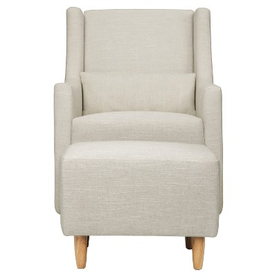 Babyletto Toco Swivel Glider and Ottoman - White Linen