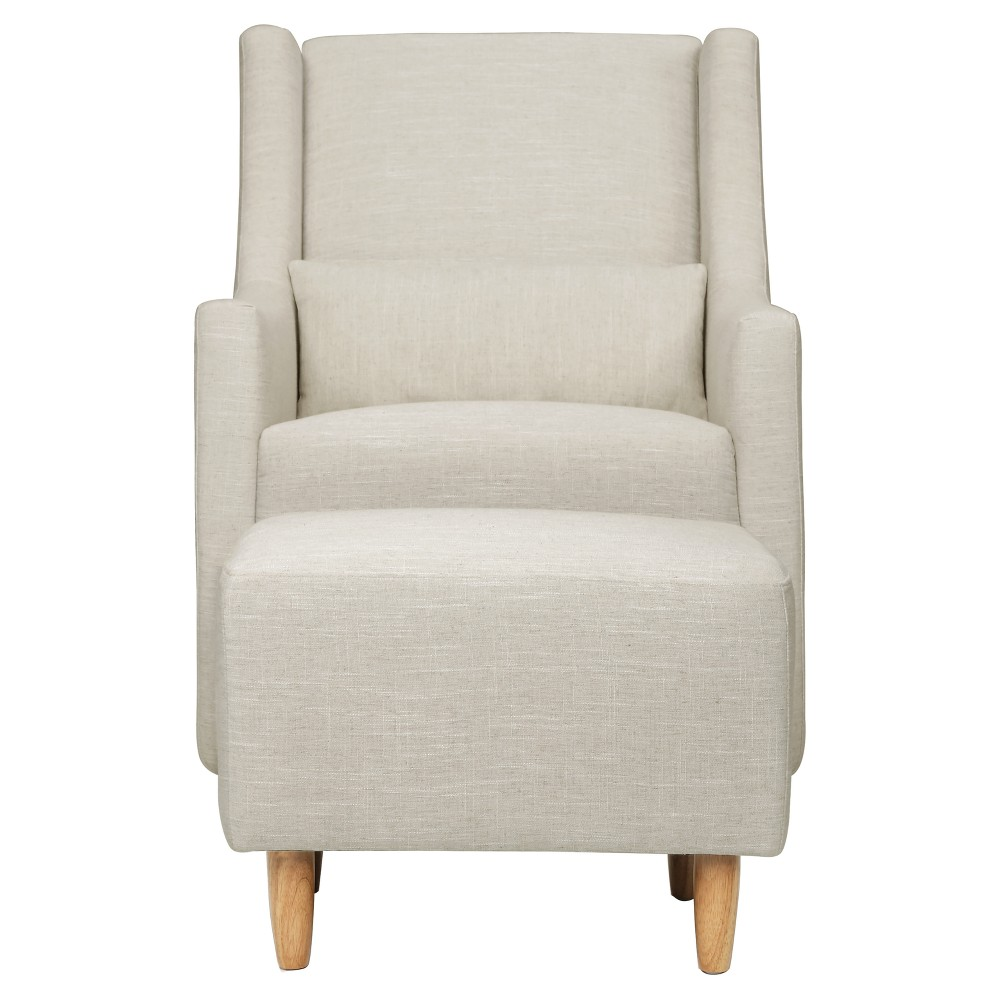 Image of Babyletto Toco Swivel Glider and Ottoman - White Linen