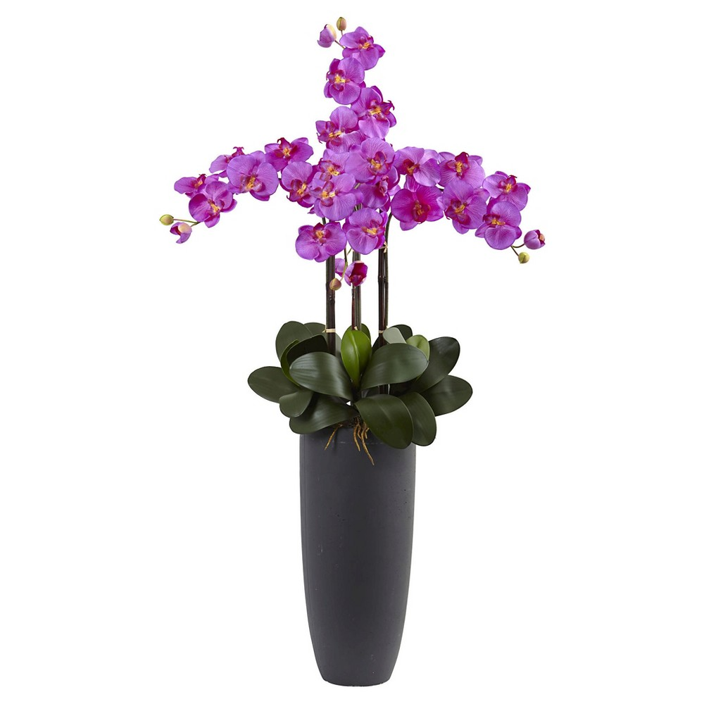 Image of Phalaenopsis Orchid Arrangement with Bullet Planter - Nearly Natural, Orchid Bloom