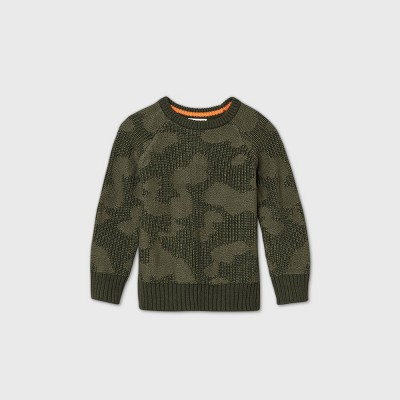 Toddler Boys' Camo Crew Neck Jacquard Pullover - Cat & Jack™ Green
