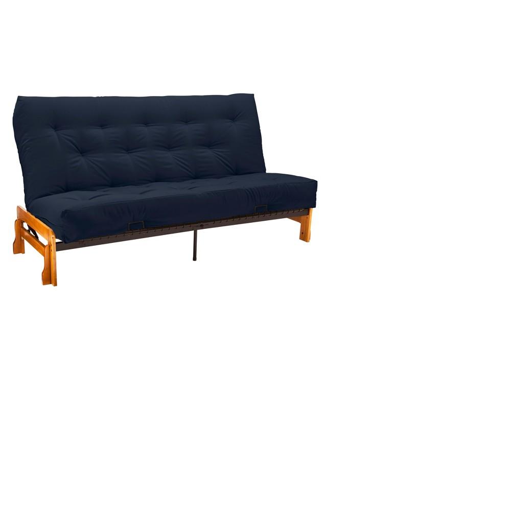 Low Arm 8 Inner Spring Futon Sofa Sleeper Oak Wood Finish - Epic Furnishings, Blue