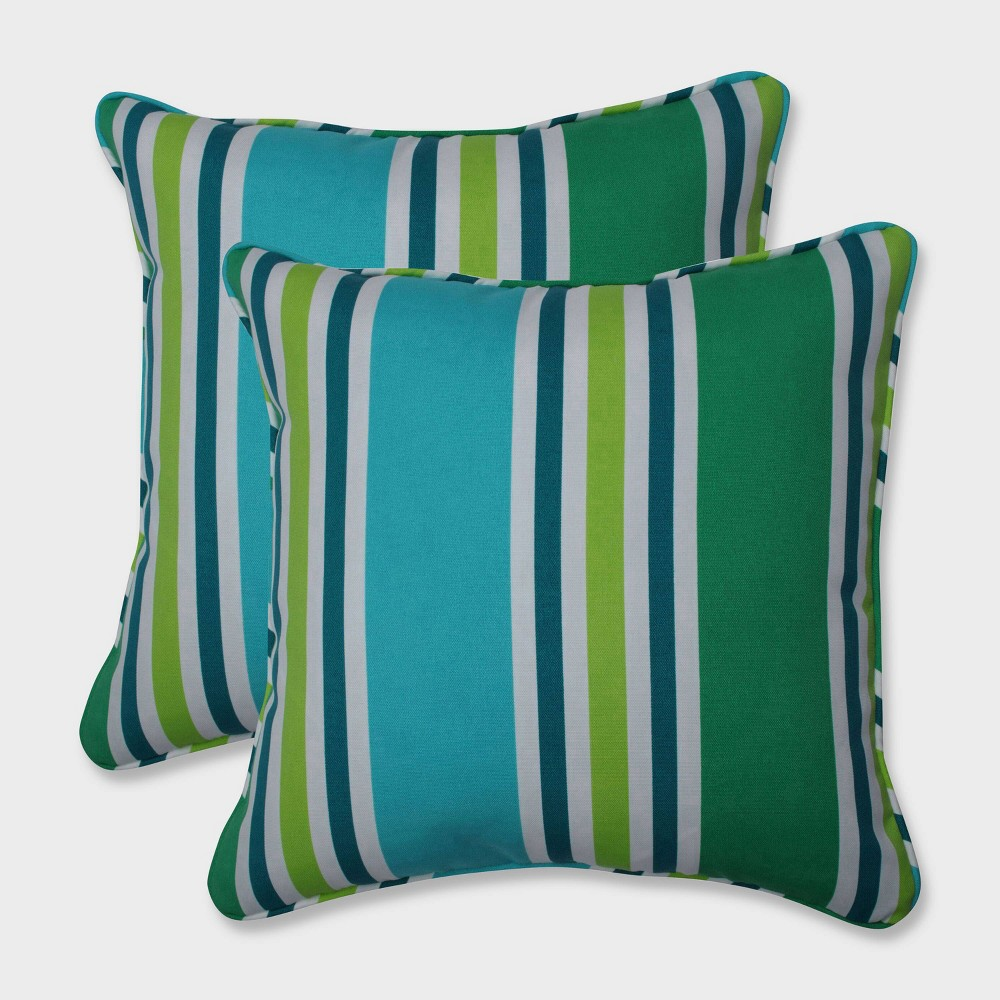 "Image of ""16.5"""" 2pk Aruba Stripe Throw Pillows Blue - Pillow Perfect, Black"""