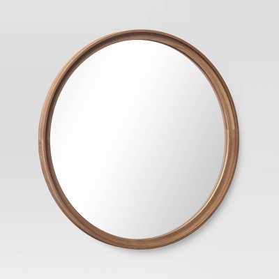 26 Classic Wood Round Mirror, Threshold Frameless Mirror Set How To Hang