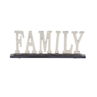 """22"""" x 8"""" Modern Aluminum and Marble """"Family"""" Sign Sculpture Silver - Olivia & May"""