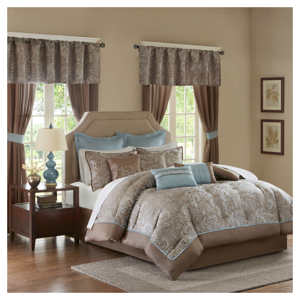 Blue&Brown Isabella Embroidered Paisley Bedroom in a Bag Comforter Set (King) - 24pc