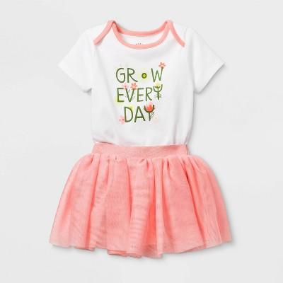 Baby Girls' Short Sleeve Grow Everyday Tutu Set - Cat & Jack™ Coral 6-9M