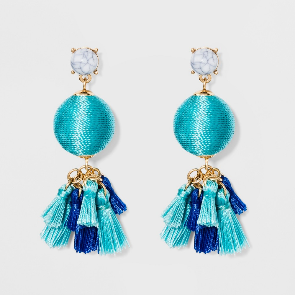 Sugarfix by BaubleBar Mixed Media Drop Earrings with Tassels - Turquoise, Girl's