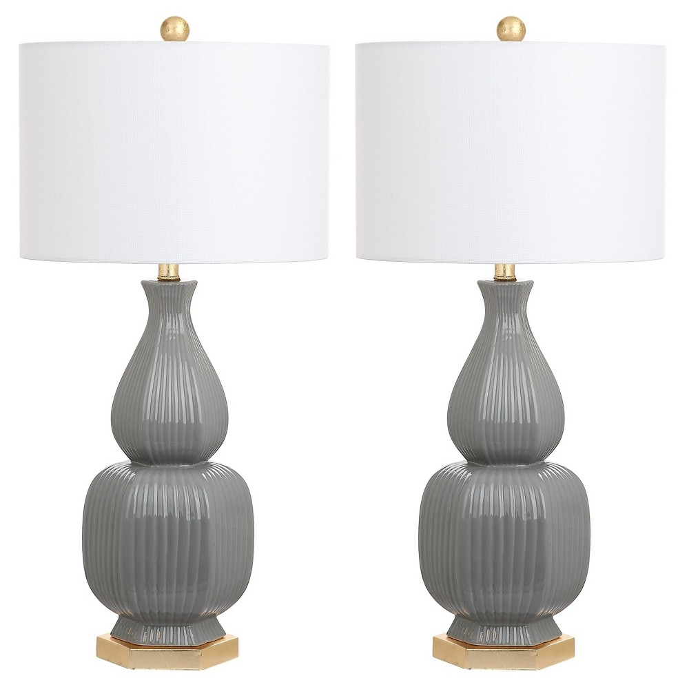 Image of Cleo Gray/Gold Ceramic Table Lamp Set of 2 - Safavieh