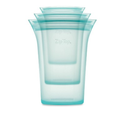 Zip Top Reusable 100% Platinum Silicone Container - 3 Cup Set (S/M/L)