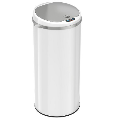 iTouchless Sensor Kitchen Trash Can with AbsorbX Odor Filter Round 13 Gallon White Stainless Steel