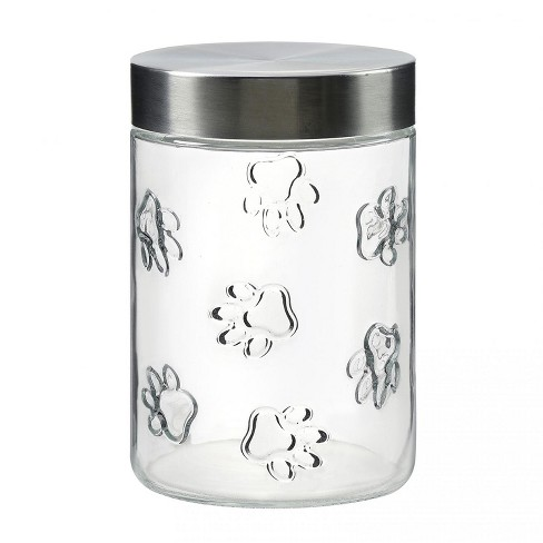 Amici Pet Maxwell Clear with Silver Lid 42 oz Glass Treats Canister, Single Container - image 1 of 3
