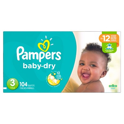 Pampers Baby Dry Diapers Super Pack Size 3 - 104ct
