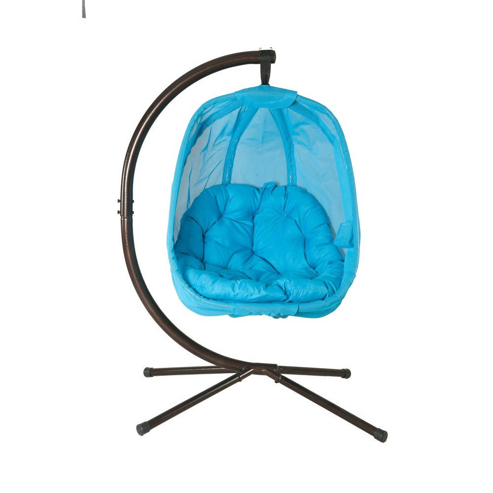Image of Hanging Egg Chair with Stand - Light Blue - FlowerHouse