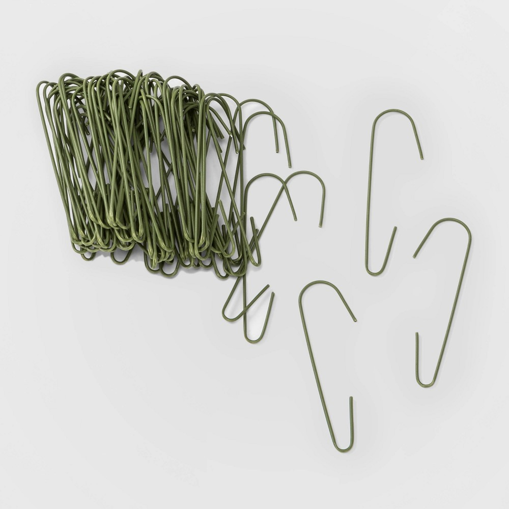 Image of 100ct Christmas Ornament Hooks Green - Wondershop