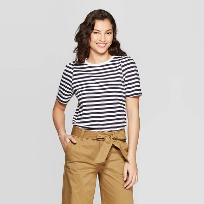 view Women's Striped Elbow Length Puff Sleeve Crewneck T-Shirt - A New Day Navy/White on target.com. Opens in a new tab.