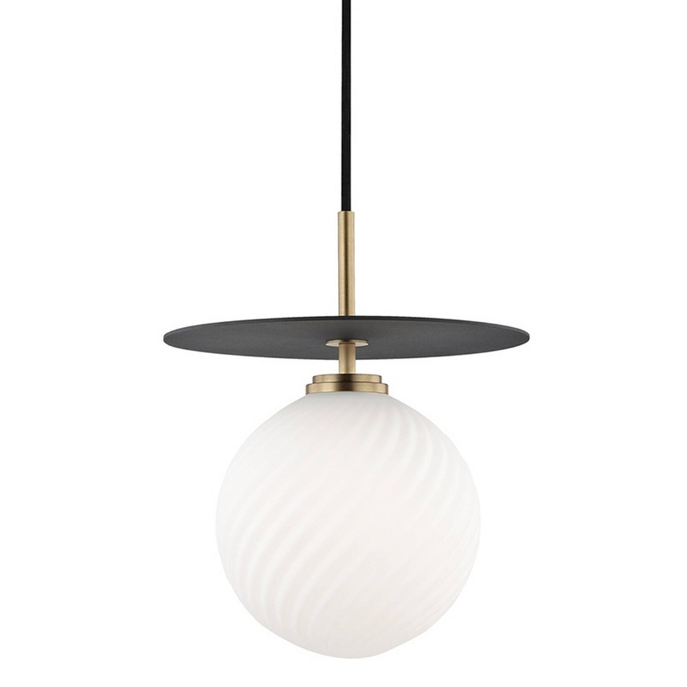 Ellis 1-Light Large Light Pendant Chandelier Aged Brass/Black - Mitzi by Hudson Valley Price