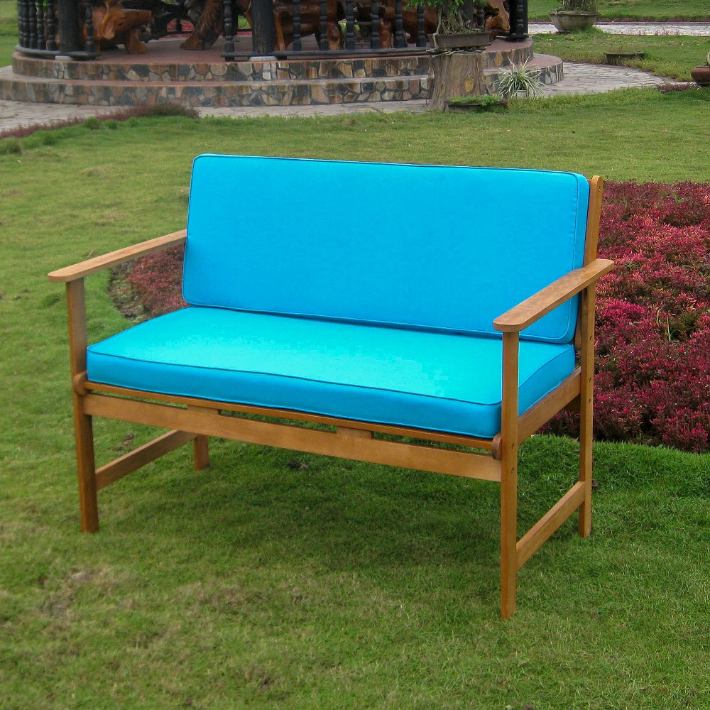 International Caravan Royal Tahiti Shorea Wood 2-Seater Patio Bench, Blue