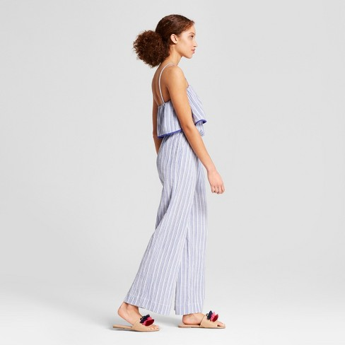 bb6cffd5584 Women s Striped Jumpsuit - A New Day™ Blue White M   Target