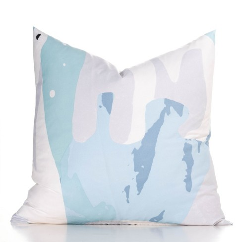 """16""""x16"""" White Bear Accent Throw Pillow With Sham Light Blue - Crayola - image 1 of 1"""