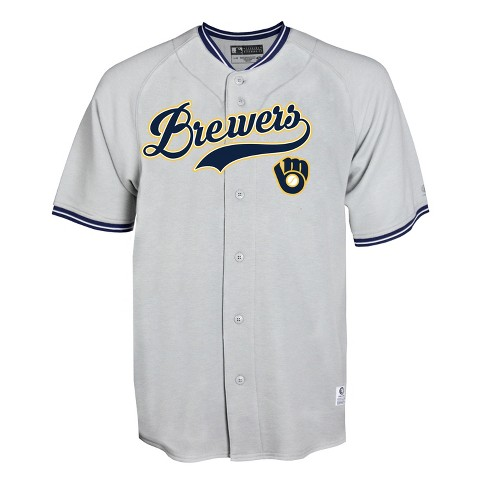 the best attitude 88cd5 6a8b1 Milwaukee Brewers Gray Retro Team Jersey - M