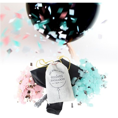 3' Jumbo Gender Reveal Pink and Blue Confetti Balloon Kit Black