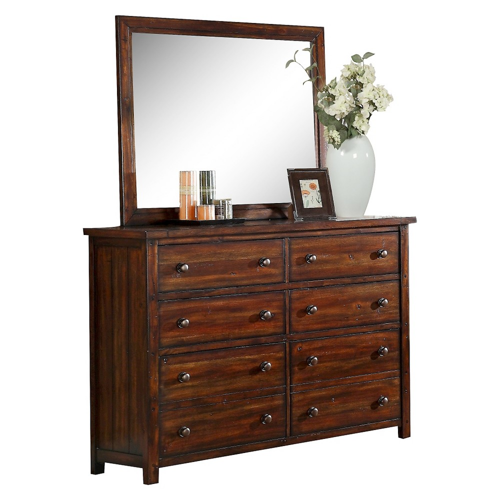 Image of Delaware 6-Drawer Dresser and Mirror Combo Deep Chestnut - Picket House Furnishings