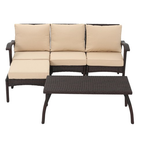 Maui 5pc All Weather Wicker Patio L Shaped Sofa Set Christopher Knight Home