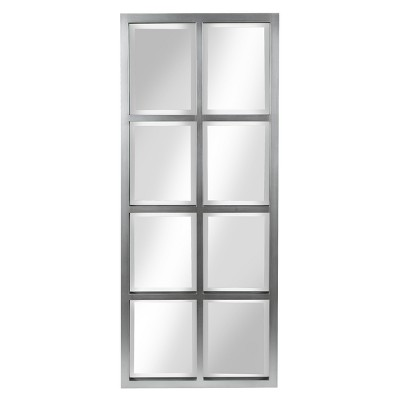 """17"""" x 42"""" Stryker Windowpane Framed 8-Pane Wall Mirror Silver - Kate and Laurel"""