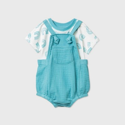 Baby Boys' Gauze Romper - Cat & Jack™ Aqua Newborn