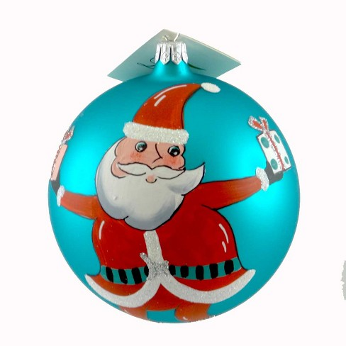 Laved Italian Ornaments Santa With Presents Ball Christmas Teal Gifts Claus  -  Tree Ornaments - image 1 of 2