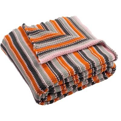 """Candy Stripe Knit Throw Blanket - Light Grey/Dark Grey/Orange/Pink - 50"""" x 60"""" - Safavieh"""