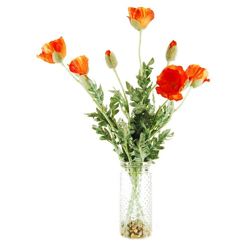 "Artificial Poppy Arrangement Orange 22"" - LCG Florals - image 1 of 1"
