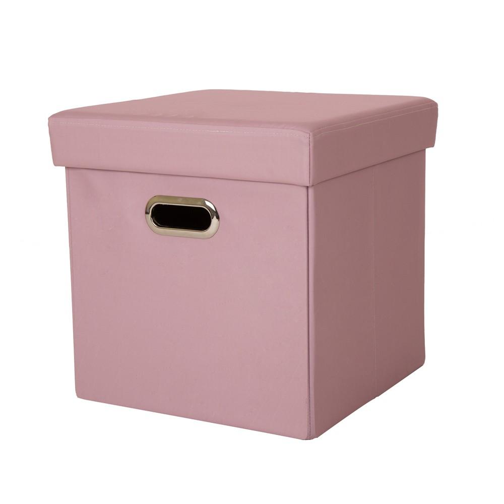 Cube Foldable Storage Ottoman - Pastel Pink - Glitzhome