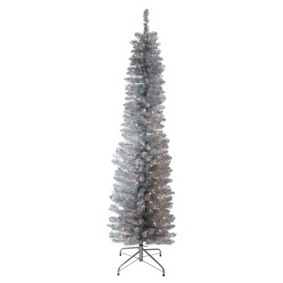 Northlight 6' Prelit Artificial Christmas Tree Pencil Silver Tinsel - Clear Lights