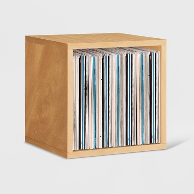 Way Basics Eco Stackable Vinyl Record Storage Cube Natural Wood Grain